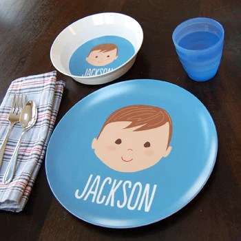 Personalized Childrens Plate Boy Face Sarah Abraham