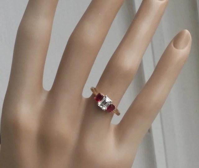 Tiffany Co  Tcw I Vvs  Stone Emerald Cut Diamond Ruby Engagement Ring