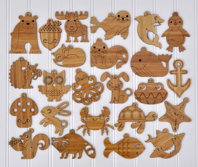 Wooden Animal Christmas Ornaments Handmade In Eco Friendly Bamboo In Woodland Ocean Themes By