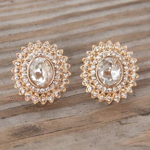 Splendora Oval Jewel Stud Earrings