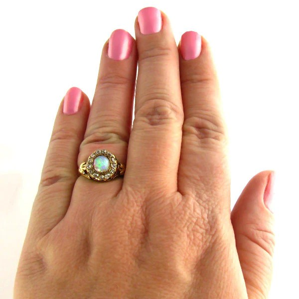 Turn Of The Century To Art Deco Opal And Old Mine Diamond Ring