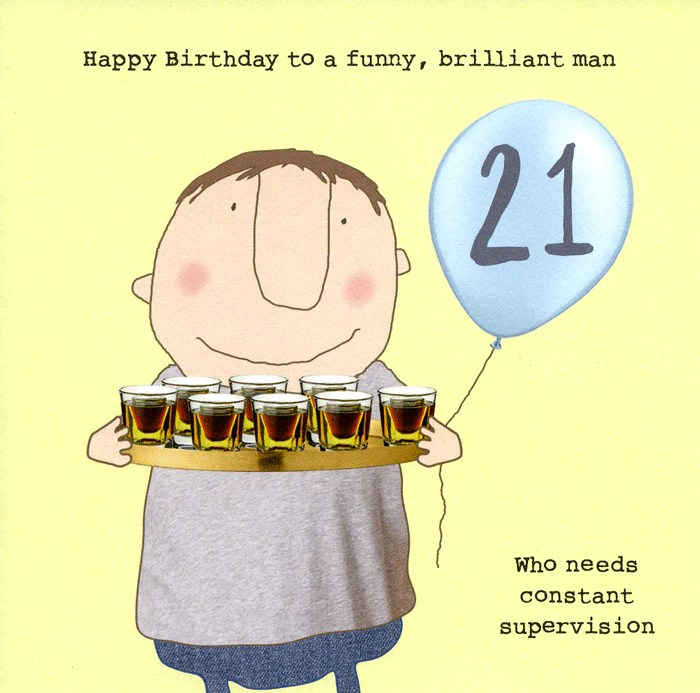 Funny 21st Birthday Card Man Who Needs Supervision Comedy Card Company