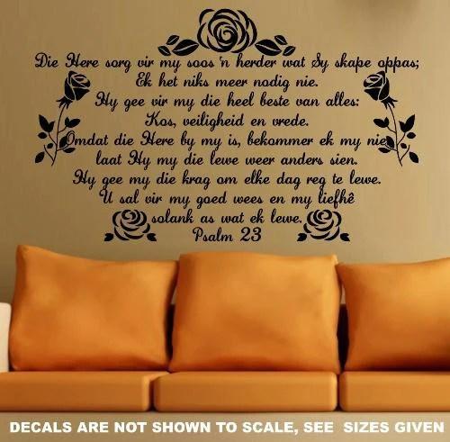 BYBEL VERS PSALM 23 AFRIKAANS INSPIRATIONAL BIBLE VERSE 1 WALL ART STICKER LARGE VINYL DECAL