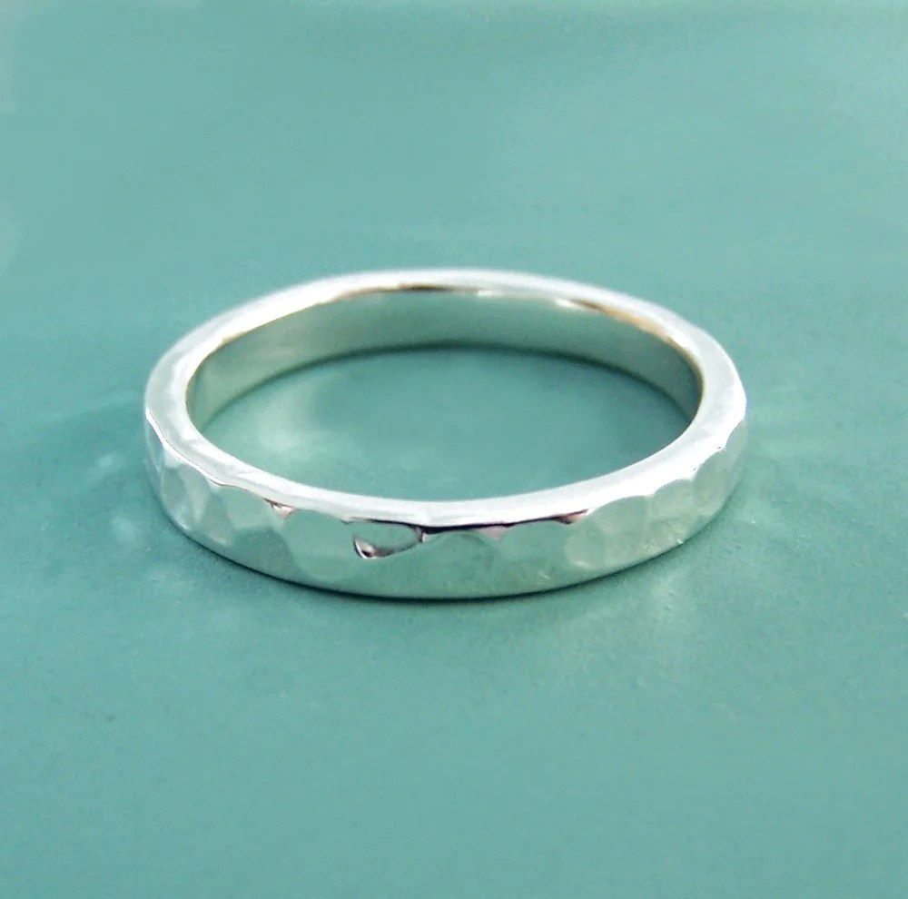 Sterling Silver Hand Hammered Wedding Ring In Recycled