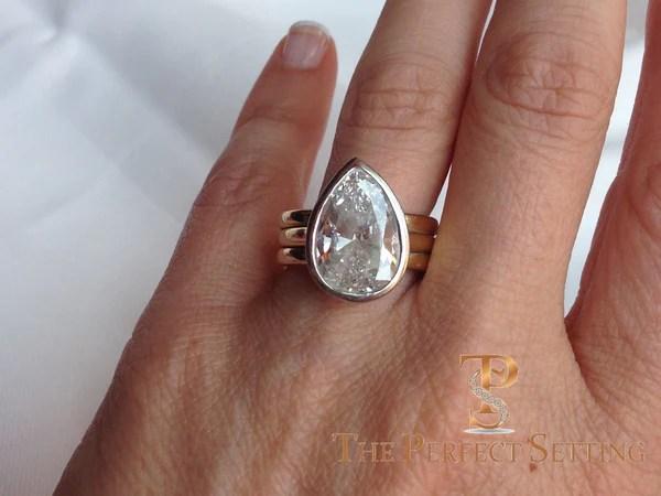 Signature Ring Pear Diamond Custom Made Platinum And 18K