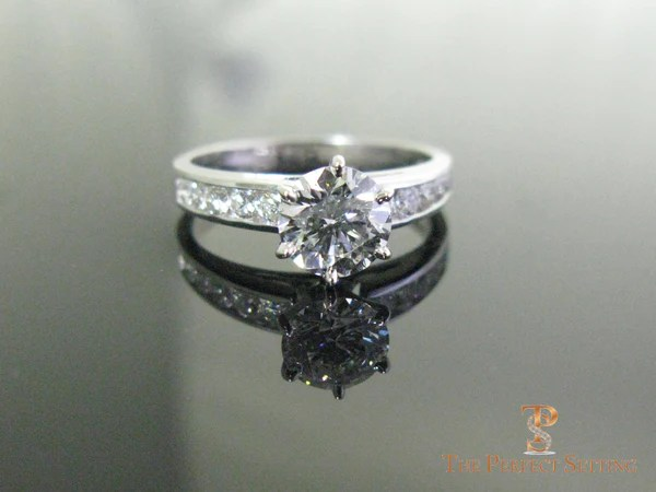 Six Prong Channel Set Diamond Engagement Ring The