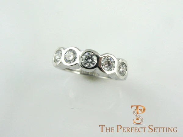Custom Tri Gold 5 Stone Bezel Set Diamond Ring The Perfect Setting
