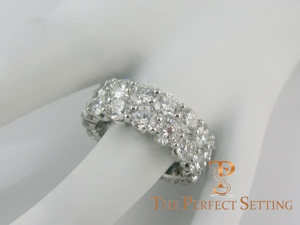 Two Row Round Diamond Eternity Band Custom Platinum Setting The Perfect Setting