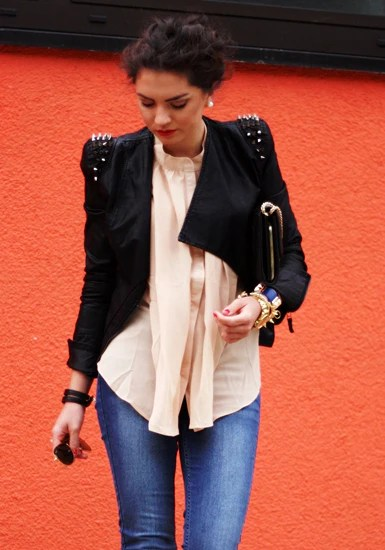 Studs Shoulder PU Blazer from Lookbook Store