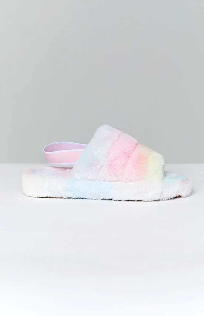 Snuggles Fluffy Sandals Tie Dye 2