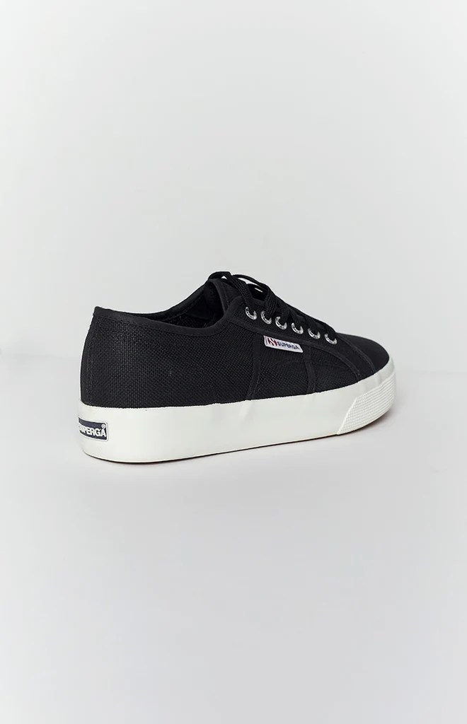 Superga 2730 COTU Canvas Sneaker Black and White 7