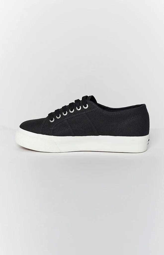 Superga 2730 COTU Canvas Sneaker Black and White 6