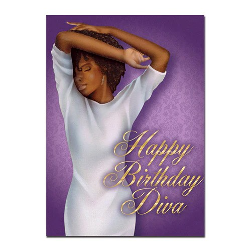 Diva African American Birthday Card 7x5 Inches High Gloss The Black Art Depot