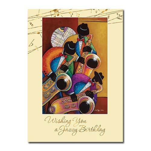 Jazzy African American Birthday Card 7x5 Inches High Gloss The Black Art Depot