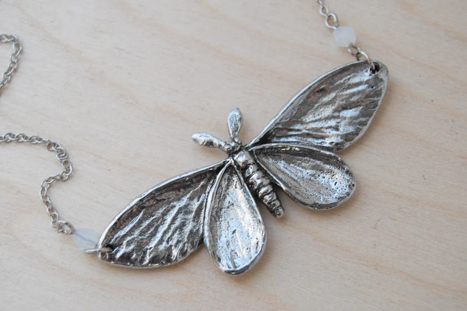 Majestic Silver Moth Necklace Large Silver Moth Pendant