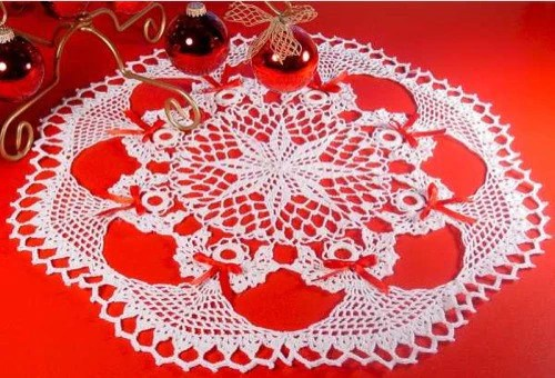 Poinsettia Christmas Doily Crochet Pattern