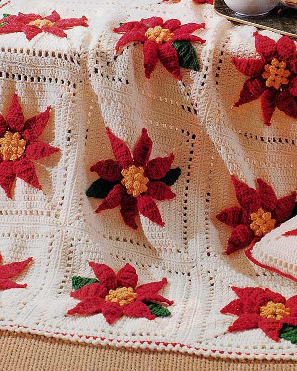Poinsettia Afghan Amp Pillow Set Crochet Pattern Maggies Crochet