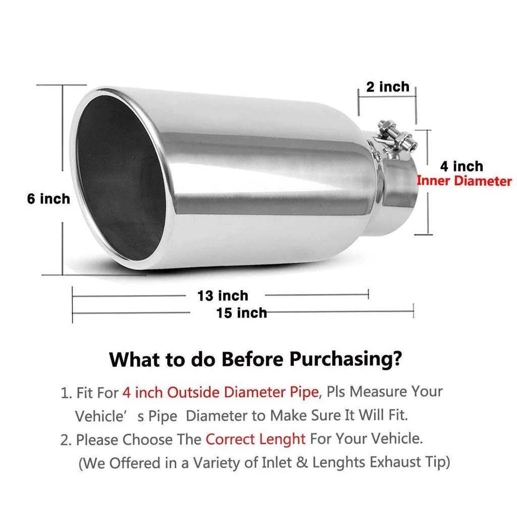 4 inlet 6 outlet 15 long bolt on diesel exhaust tip chrome stainless steel