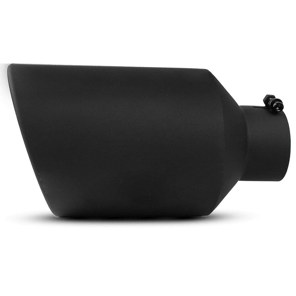 4 inlet 8 outlet 15 inch long bolt on diesel exhaust tip black stainless steel