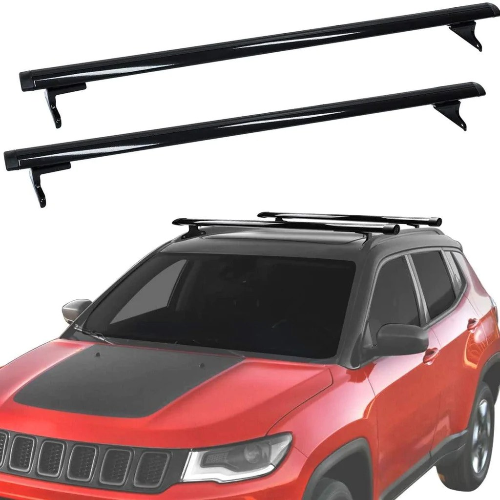 roof rack cross bars for 2018 2021 jeep compass aluminum cargo carrier rooftop luggage bike crossbars with side rails