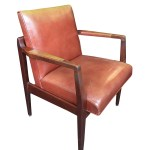 Restored Mid Century Leather Armchairs In The Style Of Jens Risom A Cafiero Select Home