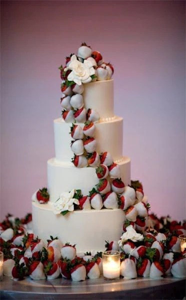 16 Chocolate Dipped Strawberry Wedding Cake Ideas     Candy Cake Weddings White Chocolate Dipped Strawberry Wedding Cake