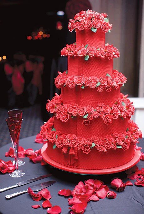 Red Velvet Tiered Wedding Cake With Sugar Roses Candy