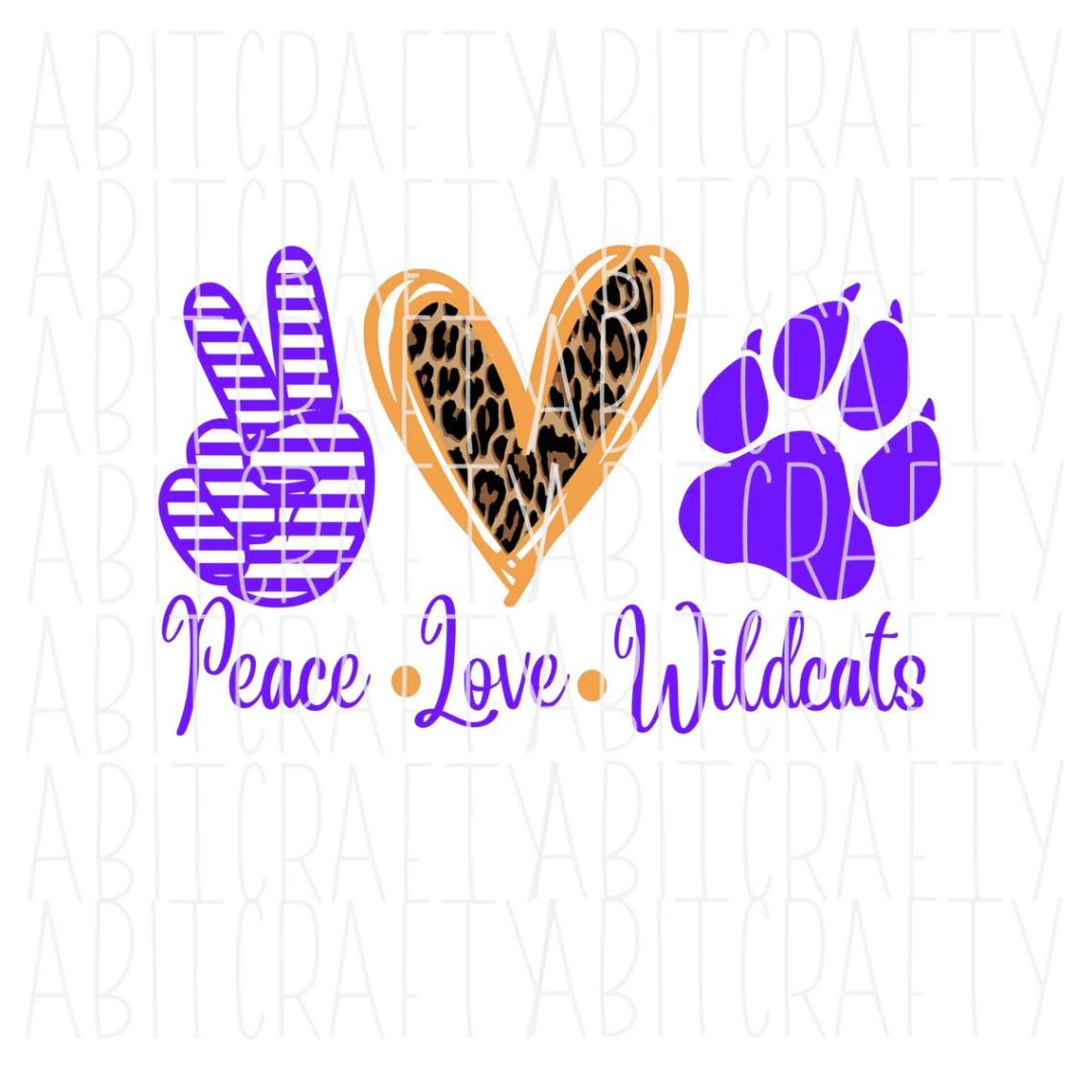 Download Peace, Love, Wildcats Purple png/svg/Mascot/digital ...