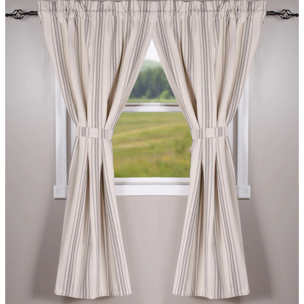 grain sack stripe cream and pewter 63 lined cotton curtain panels by