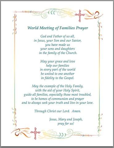 World Meeting Of Families Prayers Catholic Online Shopping
