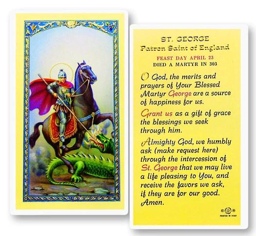 Prayer To St George Holy Card Catholic Online Shopping