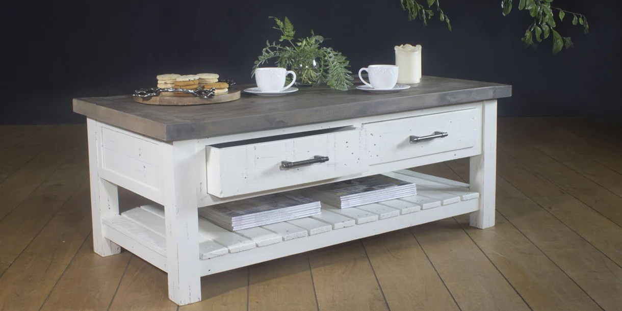 dorset 2 drawer reclaimed wood coffee table