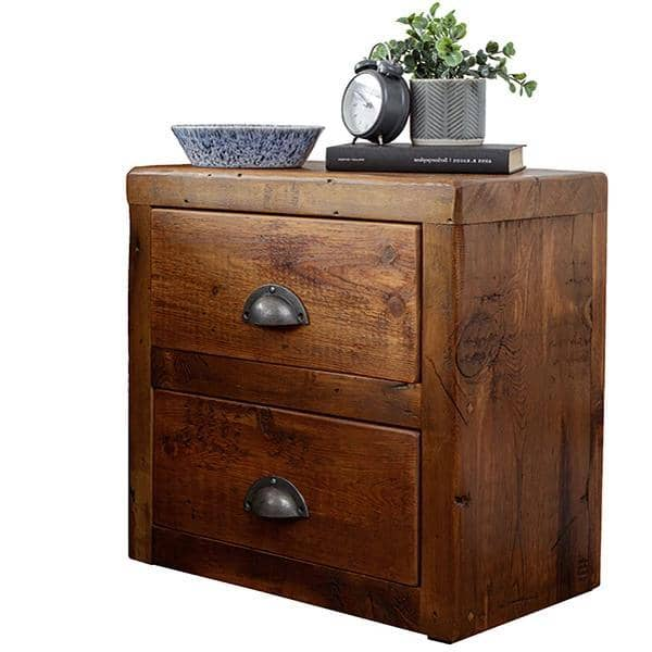 beam reclaimed wood bedside table double drawer