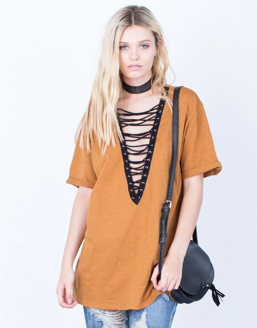 lace up deep v tee camel front If You Love Shopping At Nasty Gal, Here Are 5 Other Brands To Try