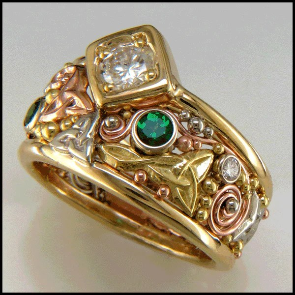 Custom Diamond and Tsavorite Ring RF257-3