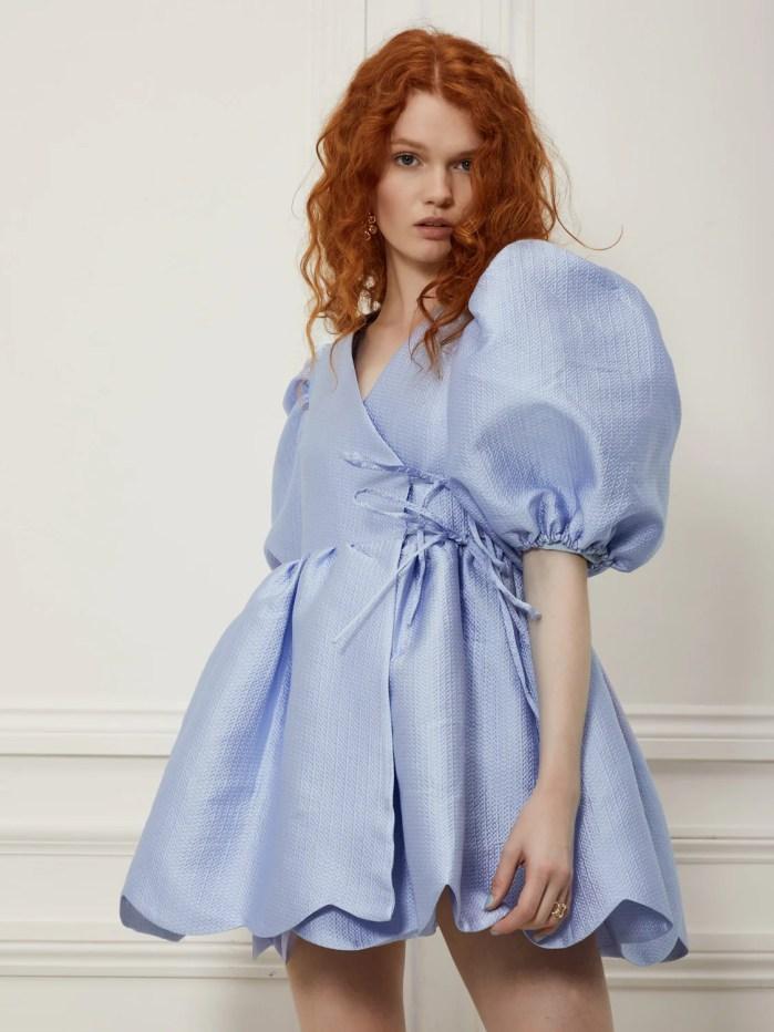 sister jane DREAM Gramophone Jacquard Mini Wrap Dress