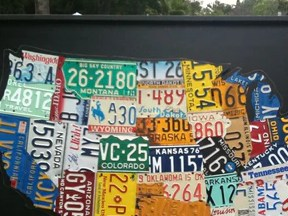 HD Decor Images » 1  USA License Plate Maps     Aaron Foster Designs Boxed Cutout License Plate Map of the USA