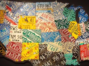 HD Decor Images » 1  USA License Plate Maps     Aaron Foster Designs Large Scale USA License Plate Map