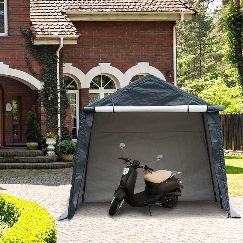 10 x 10 feet outdoor carport shed heavy duty car canopy grey
