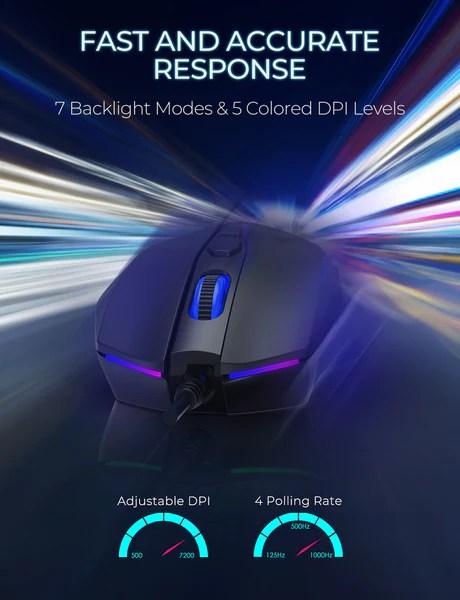 Pictek 7 Programmable Buttons Rgb Backlit Breathing Light Professiona Ipictek