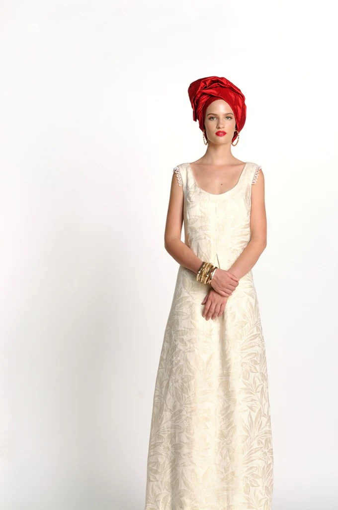 The Dreamy Linen Lurex Gown by Baraka