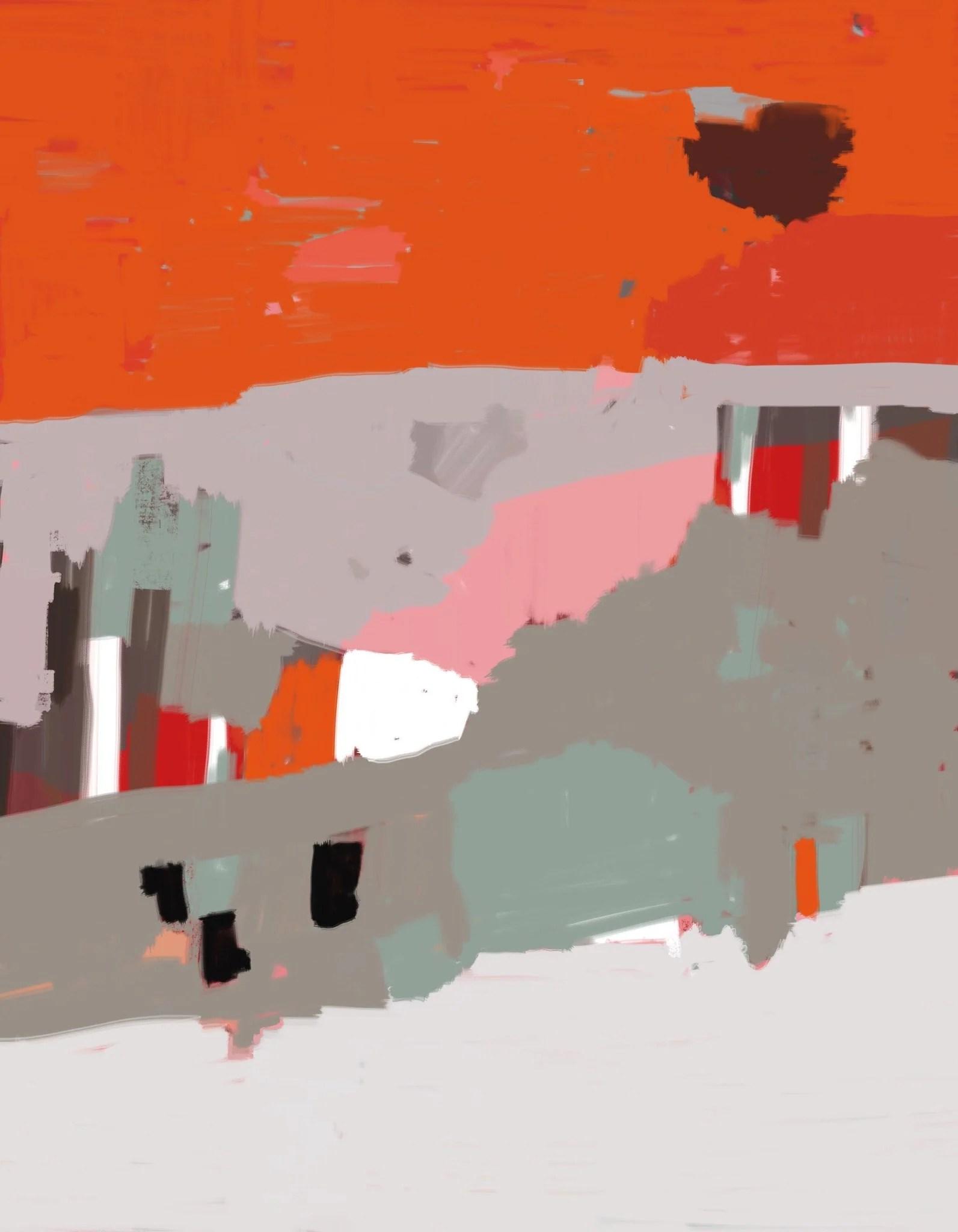 paysage abstrait colore orange gris ocre
