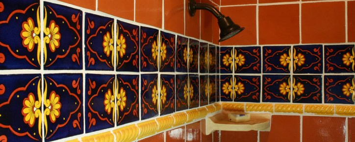 Talavera Tile Shower in Bathroom Backsplash Blue Yellow and Red Mosaic Tiles