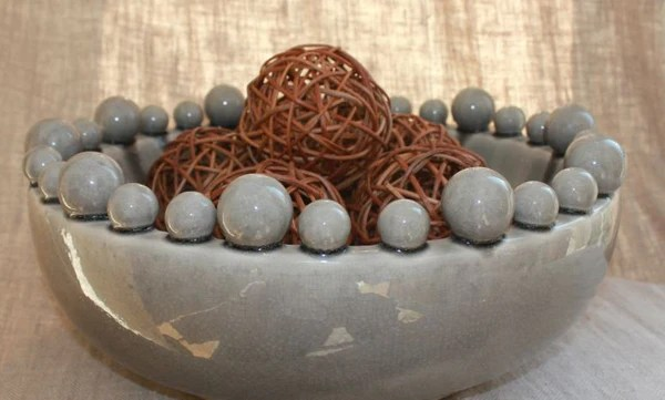 Large Grey Ceramic Bowl With Bobbles On Rim