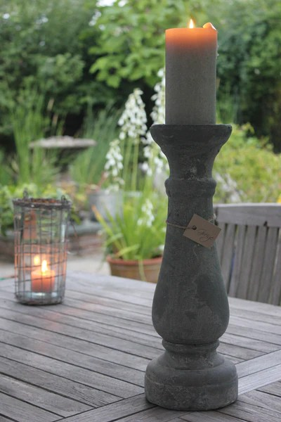 Heavy Rustic Natural Stone Effect Candle Holders