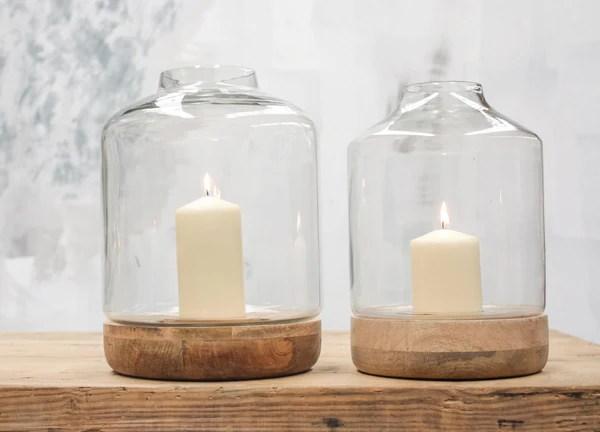 Bottle Shape Glass Hurricane Lantern With Wood Base