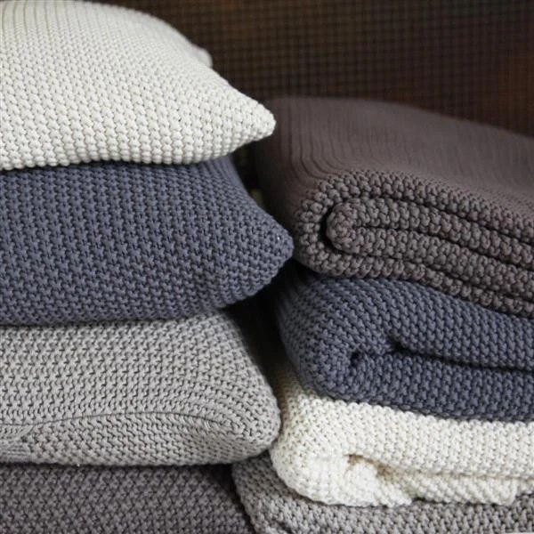 Warm Cosy Moss Stitch Cotton Throw Pewter Or Stone