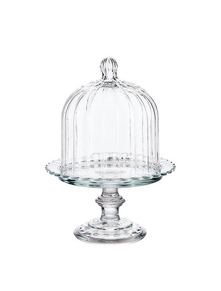 Mini Italian Glass Cake Stand With Dome