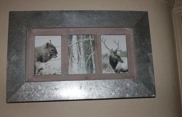 Metal And Wood Multi Photo Frame Three Apertures