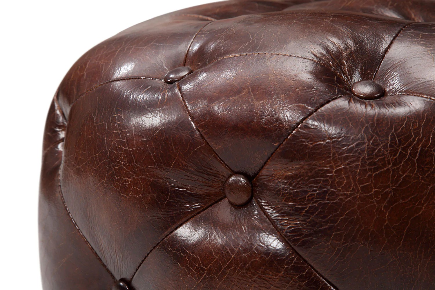 Small Tufted Leather Ottoman